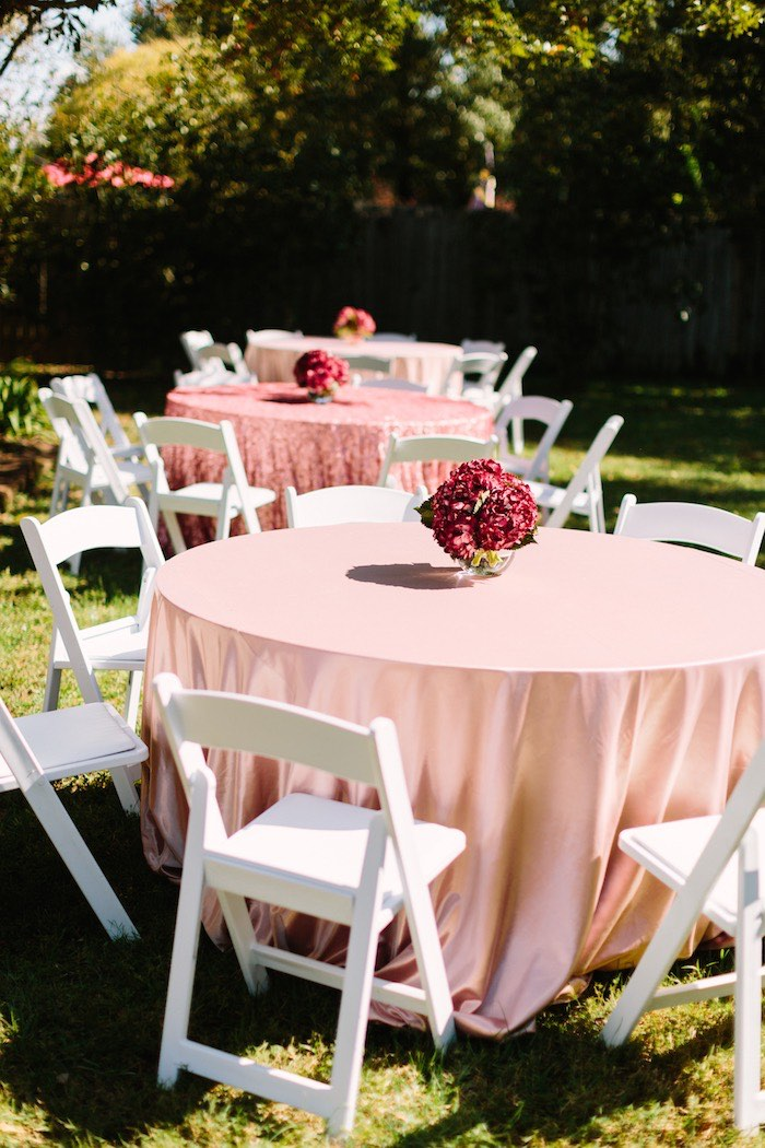 Blush Guest Tables topped with Burgundy Blooms from a Burgundy & Blush Little Pumpkin Birthday Party on Kara's Party Ideas | KarasPartyIdeas.com (20)
