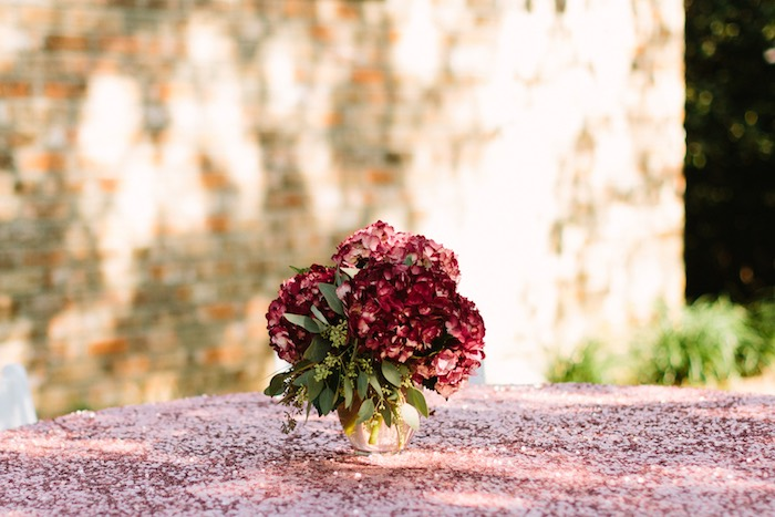 Hydrangea Blooms paired with a Blush Sequin Linen from a Burgundy & Blush Little Pumpkin Birthday Party on Kara's Party Ideas | KarasPartyIdeas.com (19)