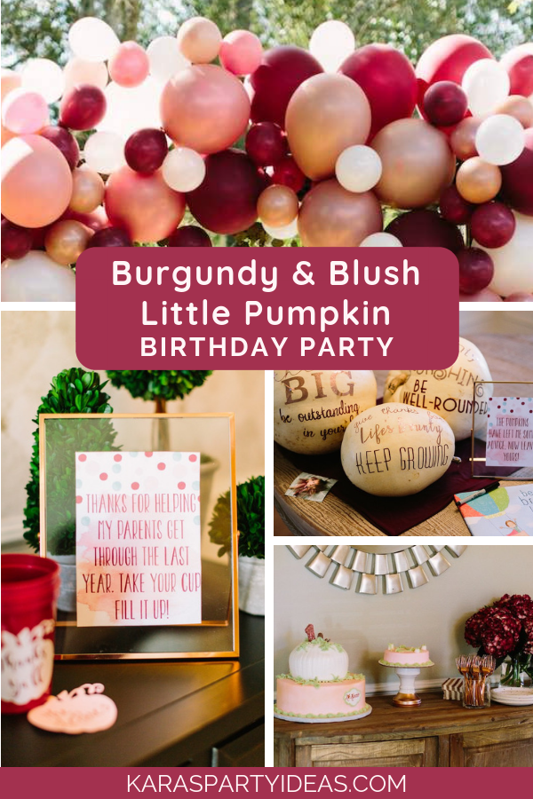 Burgundy & Blush Little Pumpkin Birthday Party via Kara's Party Ideas - KarasPartyIdeas.com