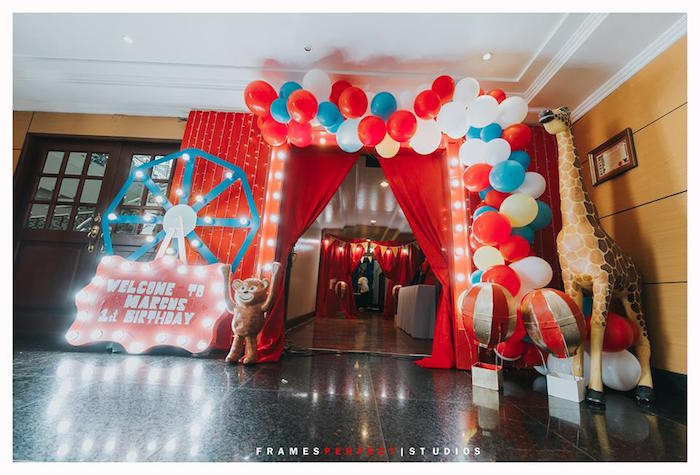 Carnival Party Entrance from a Carnival Animal Birthday Party on Kara's Party Ideas | KarasPartyIdeas.com (25)