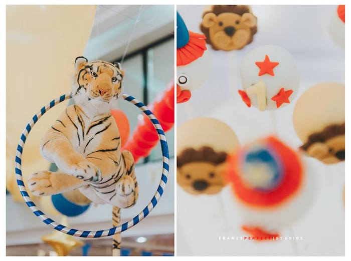 Hanging Hula Hoop & Tiger Decoration from a Carnival Animal Birthday Party on Kara's Party Ideas | KarasPartyIdeas.com (23)