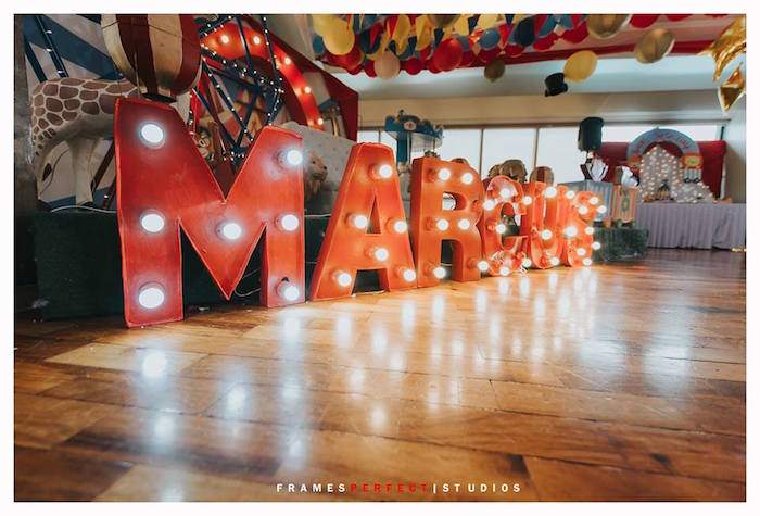 Marquee Light Letters from a Carnival Animal Birthday Party on Kara's Party Ideas | KarasPartyIdeas.com (37)