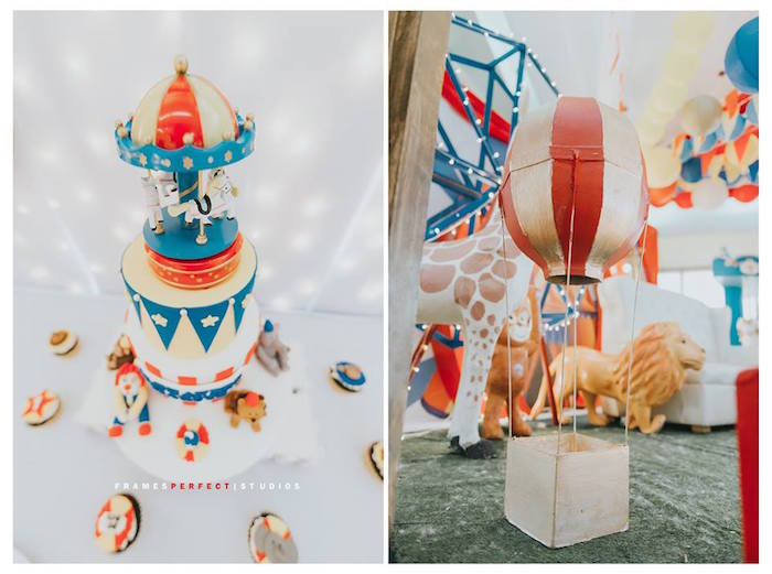 Carnival Cake & Table Centerpiece from a Carnival Animal Birthday Party on Kara's Party Ideas | KarasPartyIdeas.com (11)