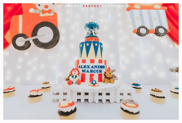 Carnival/Circus Cake Table from a Carnival Animal Birthday Party on Kara's Party Ideas | KarasPartyIdeas.com (10)