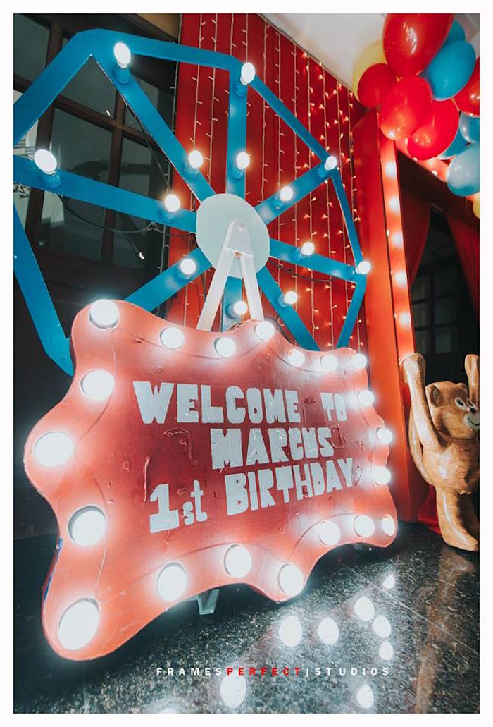 Welcome Marquee Sign from a Carnival Animal Birthday Party on Kara's Party Ideas | KarasPartyIdeas.com (9)