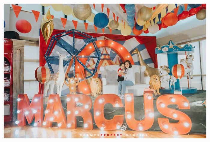 Carnival/Circus Party Backdrop from a Carnival Animal Birthday Party on Kara's Party Ideas | KarasPartyIdeas.com (8)