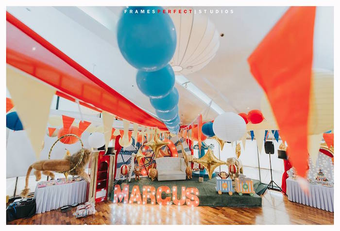 Carnival Backdrop + Stage from a Carnival Animal Birthday Party on Kara's Party Ideas | KarasPartyIdeas.com (35)