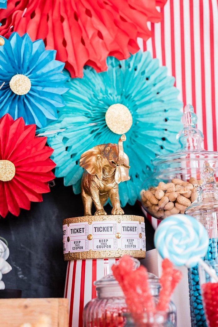 Circus Themed Party Table - Decor from a Circus Carnival Birthday Party on Kara's Party Ideas | KarasPartyIdeas.com (21)