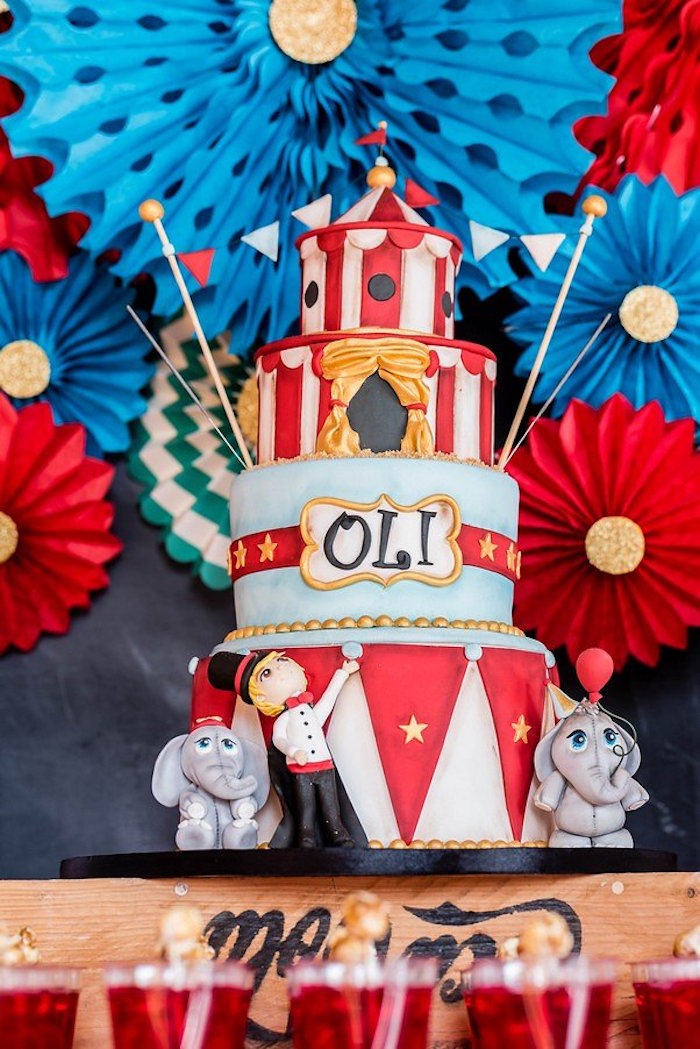 Circus + Carnival Cake from a Circus Carnival Birthday Party on Kara's Party Ideas | KarasPartyIdeas.com (20)