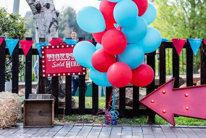 Circus Party Entrance + Decor from a Circus Carnival Birthday Party on Kara's Party Ideas | KarasPartyIdeas.com (16)