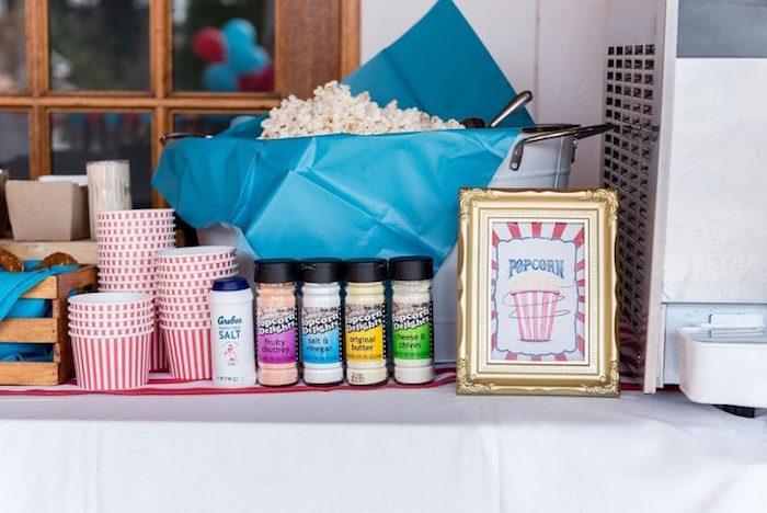 Popcorn Bar from a Circus Carnival Birthday Party on Kara's Party Ideas | KarasPartyIdeas.com (28)