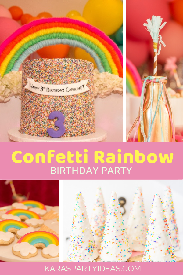 Confetti Rainbow Birthday Party via Kara's Party Ideas - KarasPartyIdeas.com