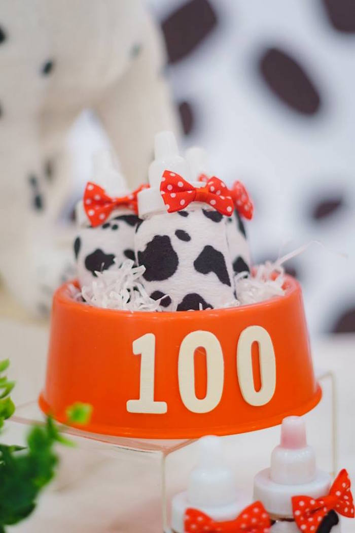 Dalmatian Print Bottles in a Dog Bowl from a Dalmatian Inspired Puppy Birthday Party on Kara's Party Ideas | KarasPartyIdeas.com (9)
