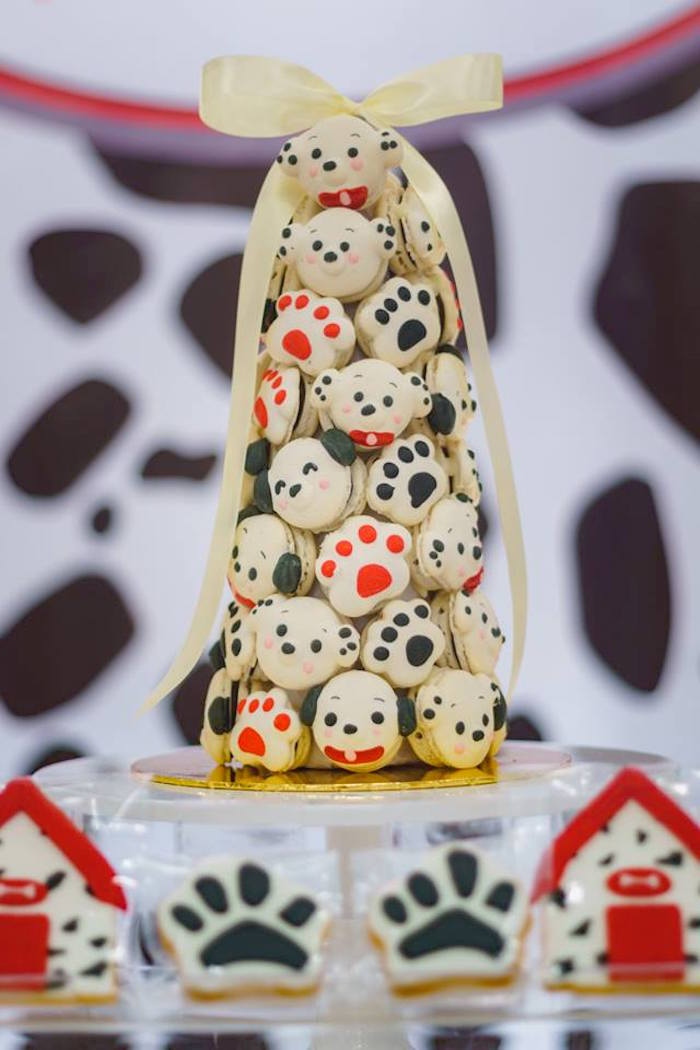 Dog-inspired Macaron Tower from a Dalmatian Inspired Puppy Birthday Party on Kara's Party Ideas | KarasPartyIdeas.com (8)