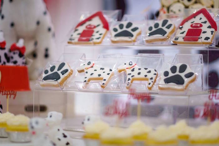 Dalmatian + Dog Themed Cookies from a Dalmatian Inspired Puppy Birthday Party on Kara's Party Ideas | KarasPartyIdeas.com (7)