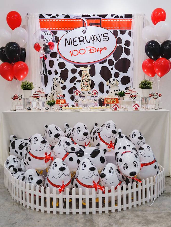 Dalmatian Dog Party Table from a Dalmatian Inspired Puppy Birthday Party on Kara's Party Ideas | KarasPartyIdeas.com (14)