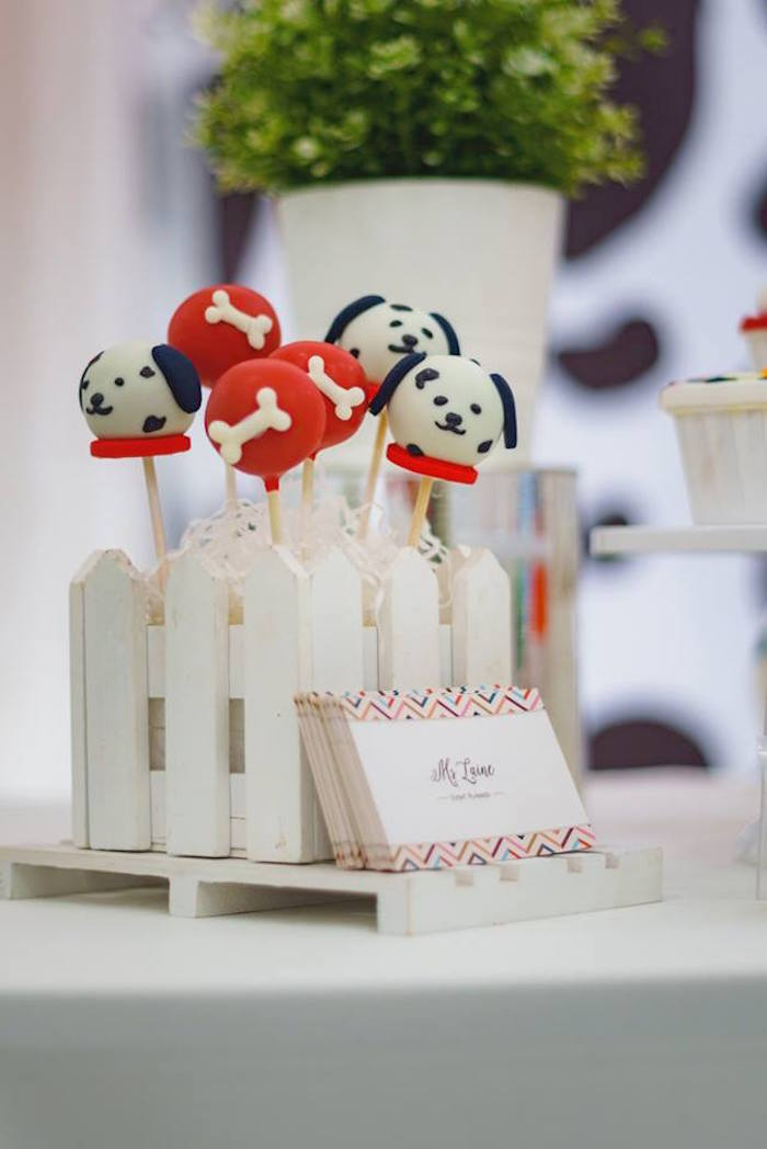 Dalmatian Dog Cake Pops from a Dalmatian Inspired Puppy Birthday Party on Kara's Party Ideas | KarasPartyIdeas.com (13)