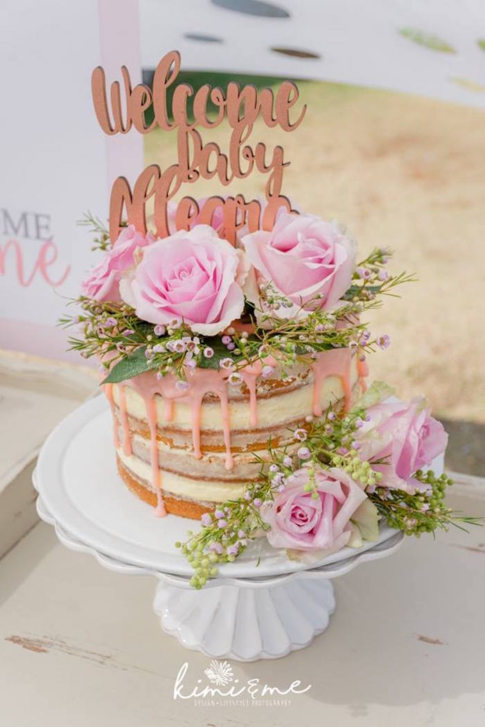 Floral Drip Cake from an Elegant Swan Baby Shower on Kara's Party Ideas | KarasPartyIdeas.com (25)