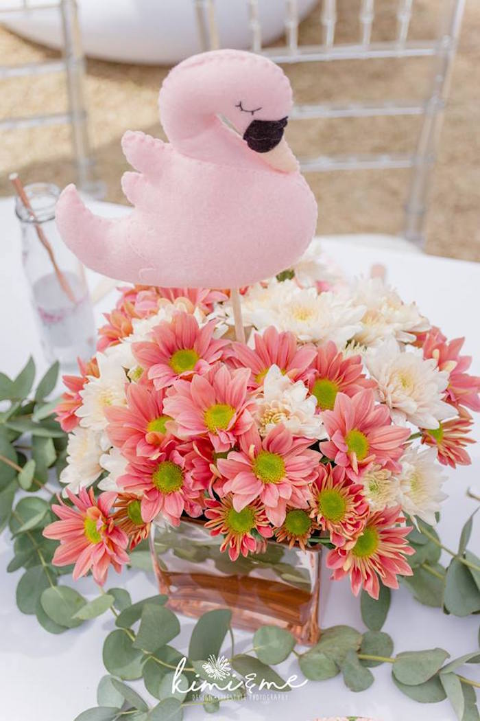 Felt Swan & Floral Table Centerpiece from an Elegant Swan Baby Shower on Kara's Party Ideas | KarasPartyIdeas.com (24)