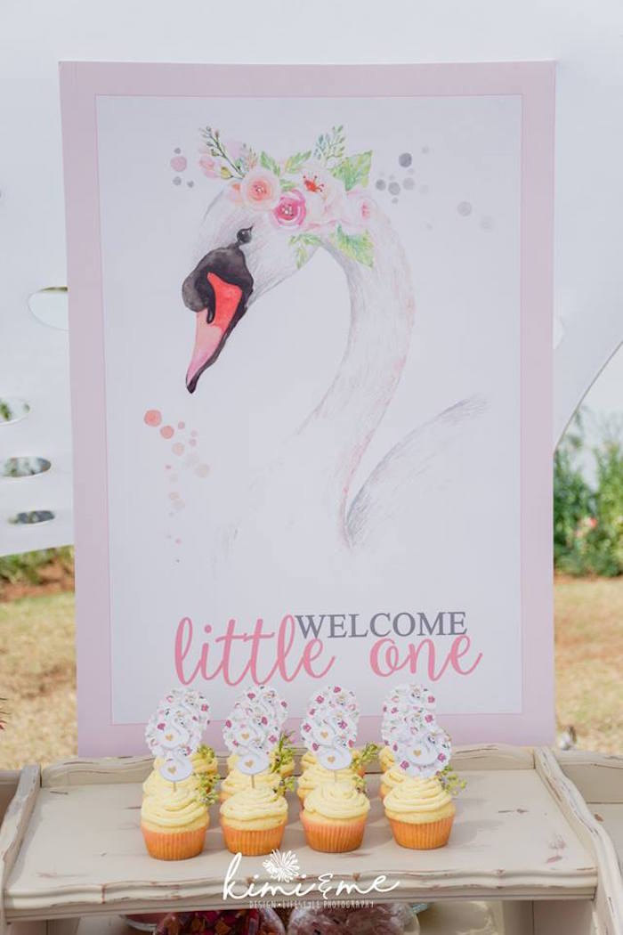 Swan Welcome Sign + Print from an Elegant Swan Baby Shower on Kara's Party Ideas | KarasPartyIdeas.com (20)