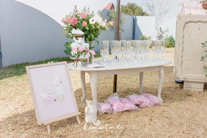 Party Table from an Elegant Swan Baby Shower on Kara's Party Ideas | KarasPartyIdeas.com (19)