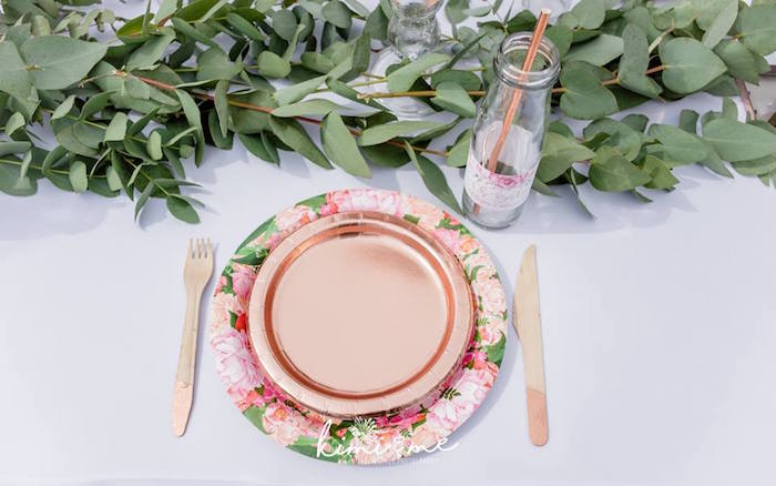 Floral Copper Table Setting from an Elegant Swan Baby Shower on Kara's Party Ideas | KarasPartyIdeas.com (17)