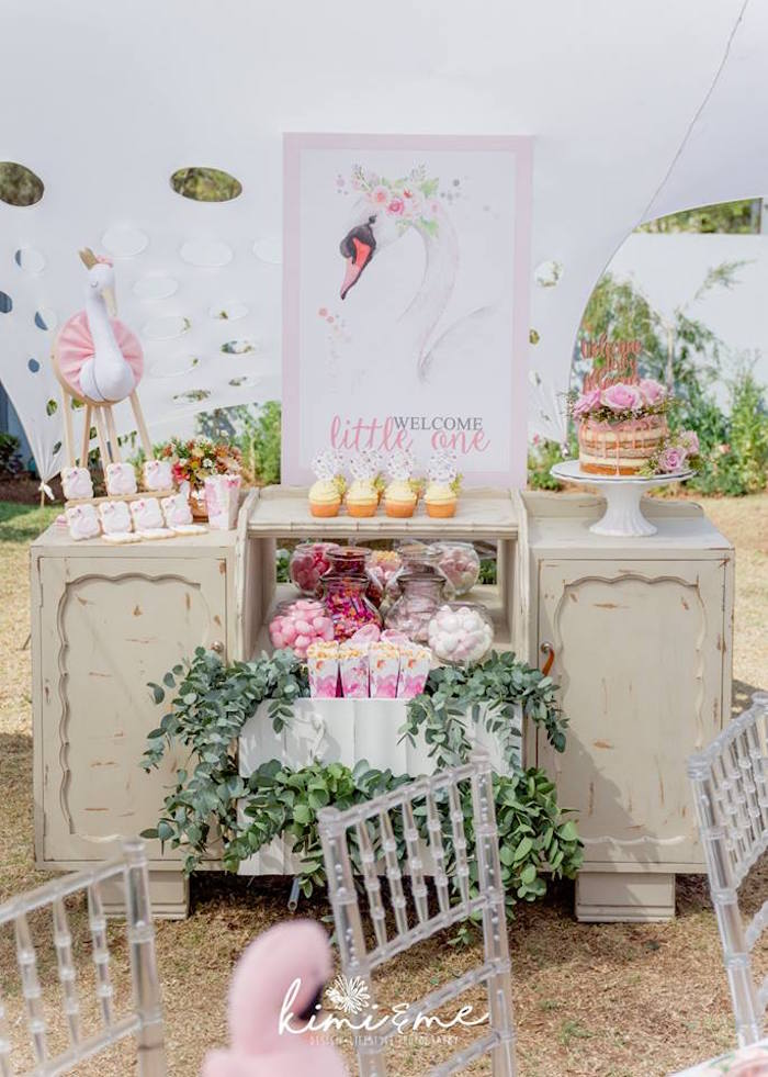 Swan Themed Sweet Table from an Elegant Swan Baby Shower on Kara's Party Ideas | KarasPartyIdeas.com (14)
