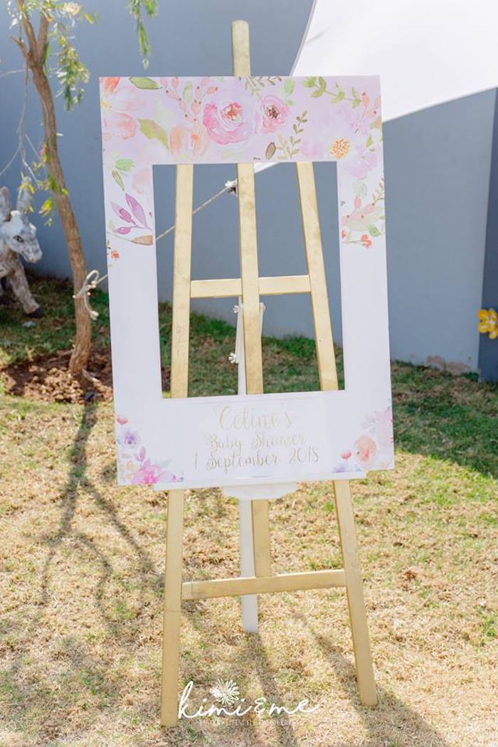 Floral Photo Frame from an Elegant Swan Baby Shower on Kara's Party Ideas | KarasPartyIdeas.com (12)