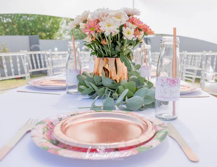 Floral Glam Table Setting from an Elegant Swan Baby Shower on Kara's Party Ideas | KarasPartyIdeas.com (10)