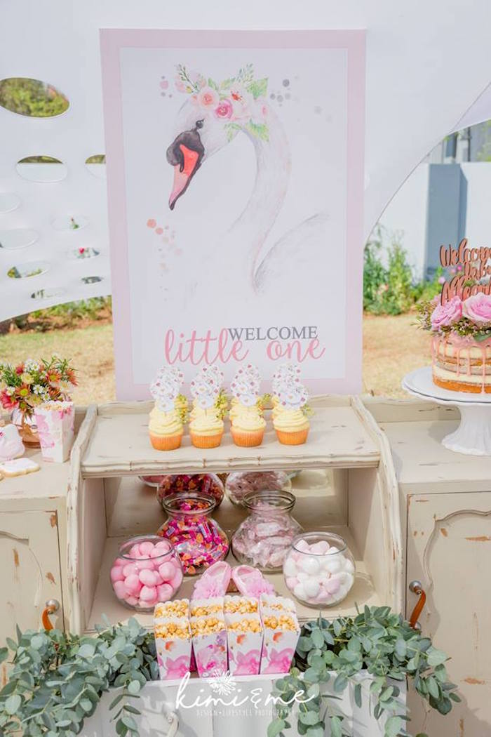 Swan Sweet Table from an Elegant Swan Baby Shower on Kara's Party Ideas | KarasPartyIdeas.com (7)
