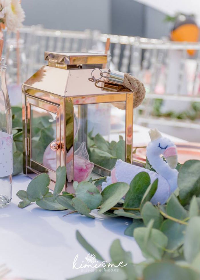 Gold Lantern Centerpiece from an Elegant Swan Baby Shower on Kara's Party Ideas | KarasPartyIdeas.com (33)