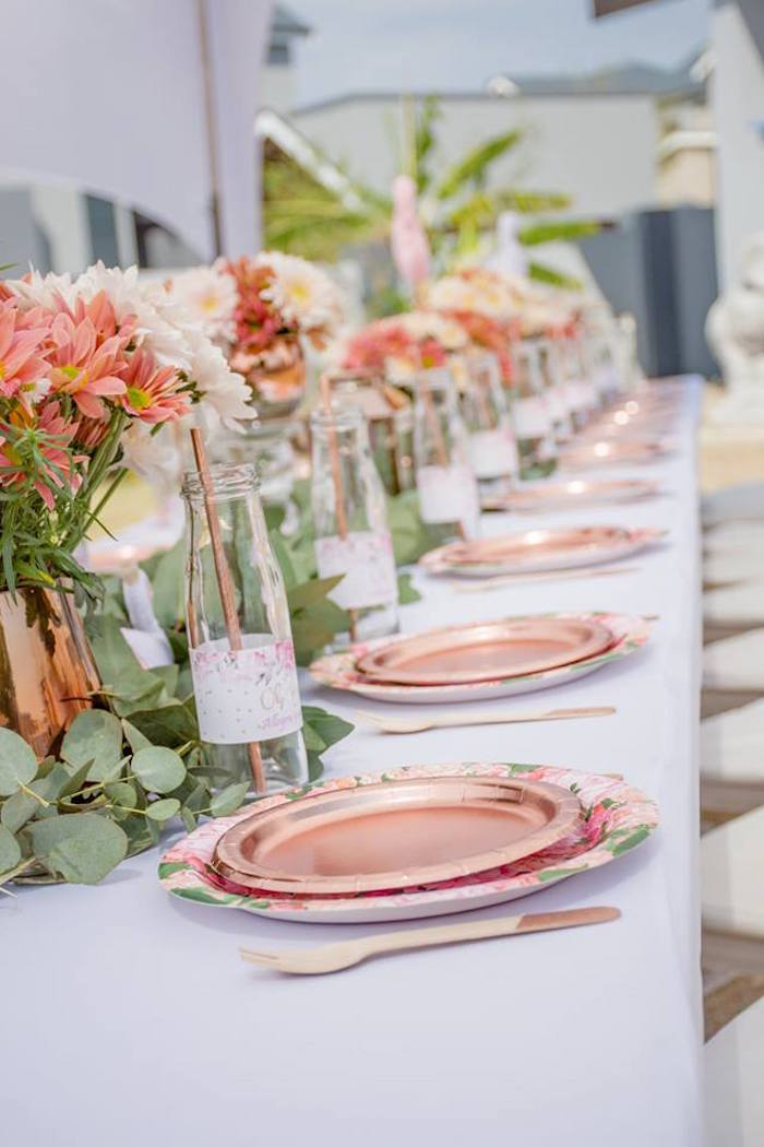 Floral Copper Tablescape from an Elegant Swan Baby Shower on Kara's Party Ideas | KarasPartyIdeas.com (30)