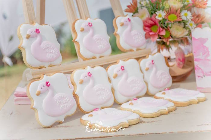 Swan Cookies from an Elegant Swan Baby Shower on Kara's Party Ideas | KarasPartyIdeas.com (28)