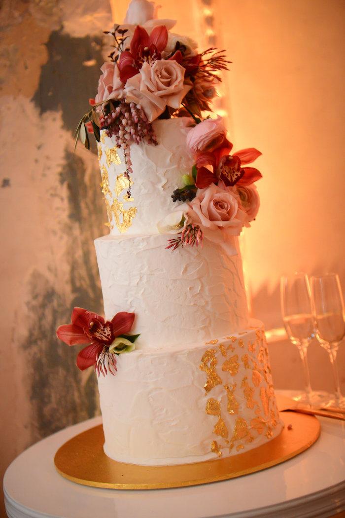 Blush Glam Wedding Cake from a Fairy Tale Wedding on Kara's Party Ideas | KarasPartyIdeas.com (15)