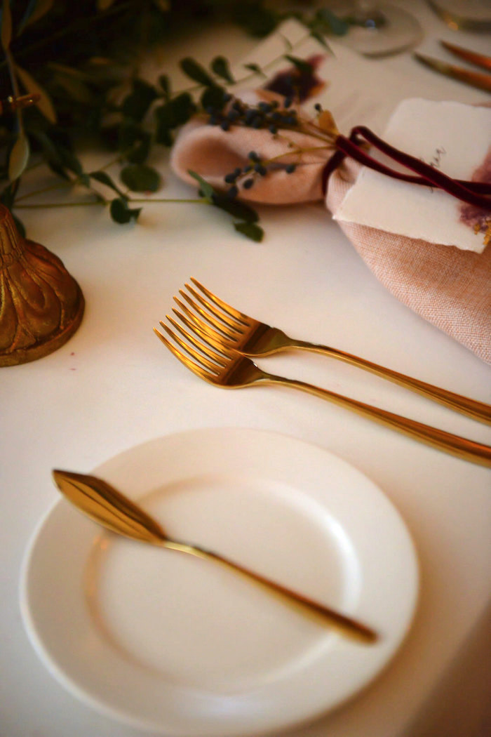 Gold Flatware + Table Setting from a Fairy Tale Wedding on Kara's Party Ideas | KarasPartyIdeas.com (13)