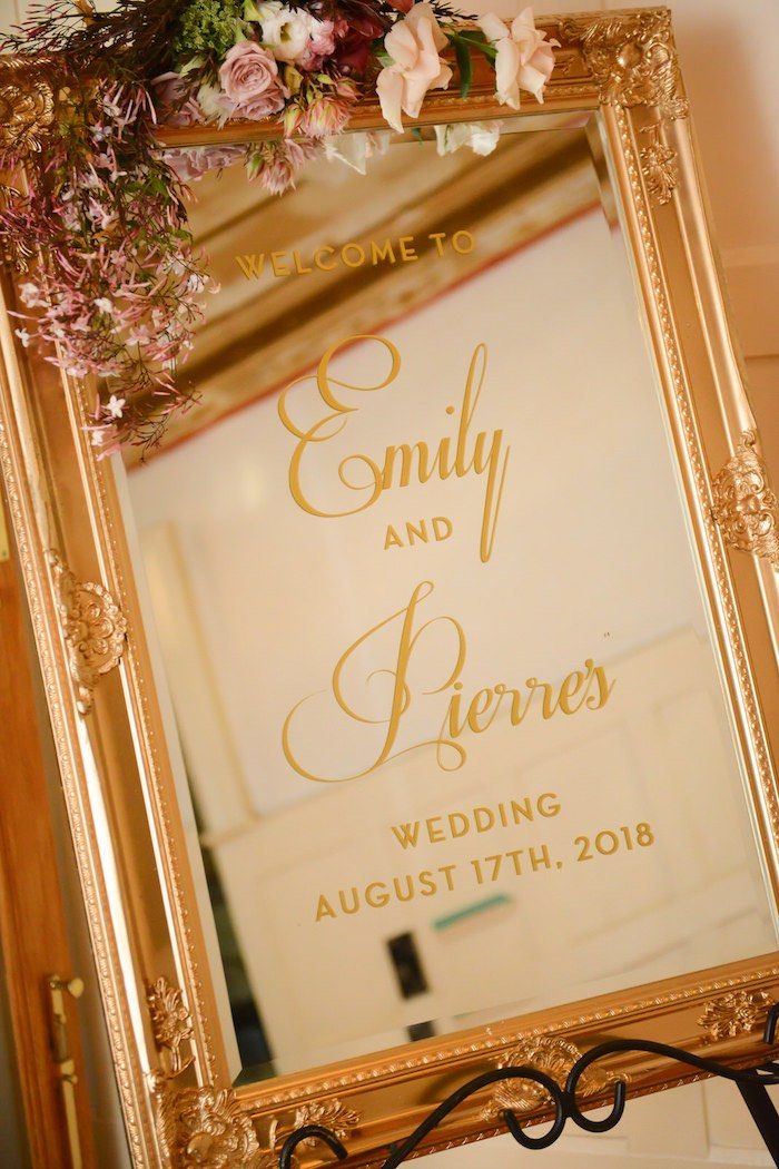 Mirror Welcome Sign from a Fairy Tale Wedding on Kara's Party Ideas | KarasPartyIdeas.com (11)