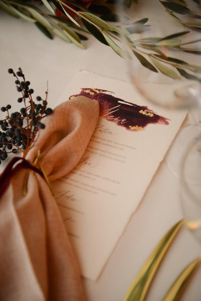 Napkin & Menu from a Fairy Tale Wedding on Kara's Party Ideas | KarasPartyIdeas.com (9)