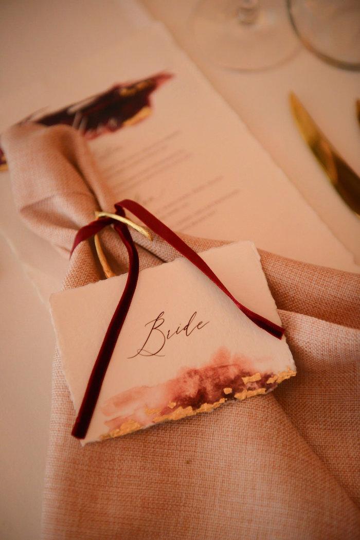 Bride - Napkin Placecard from a Fairy Tale Wedding on Kara's Party Ideas | KarasPartyIdeas.com (5)
