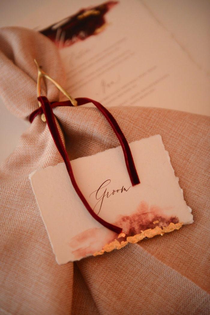 Groom Placecard from a Fairy Tale Wedding on Kara's Party Ideas | KarasPartyIdeas.com (4)