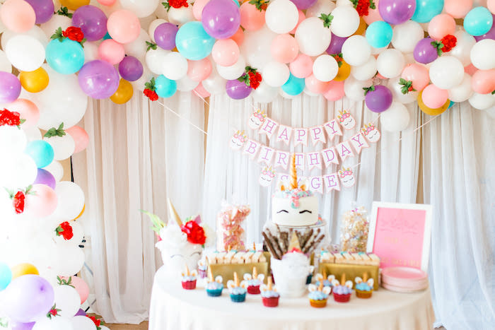 Flowers & Unicorns Birthday Party on Kara's Party Ideas | KarasPartyIdeas.com (29)