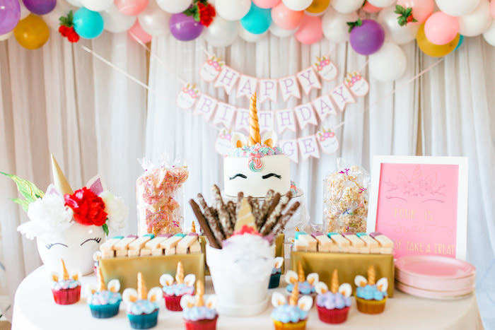 Unicorn Party + Dessert Table from a Flowers & Unicorns Birthday Party on Kara's Party Ideas | KarasPartyIdeas.com (28)