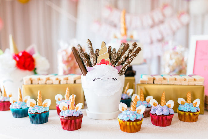 Unicorn Cupcakes from a Flowers & Unicorns Birthday Party on Kara's Party Ideas | KarasPartyIdeas.com (27)