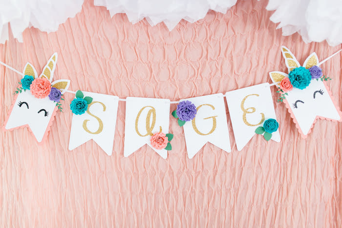 Custom Floral Glam Name Banner from a Flowers & Unicorns Birthday Party on Kara's Party Ideas | KarasPartyIdeas.com (25)