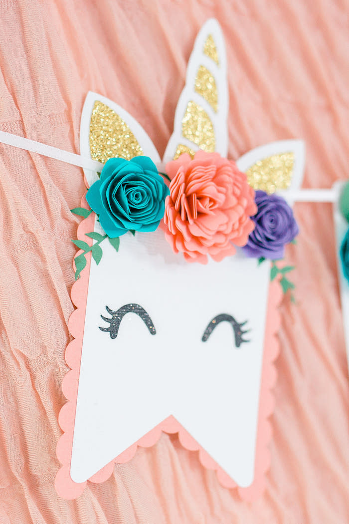 Floral Unicorn Banner from a Flowers & Unicorns Birthday Party on Kara's Party Ideas | KarasPartyIdeas.com (24)