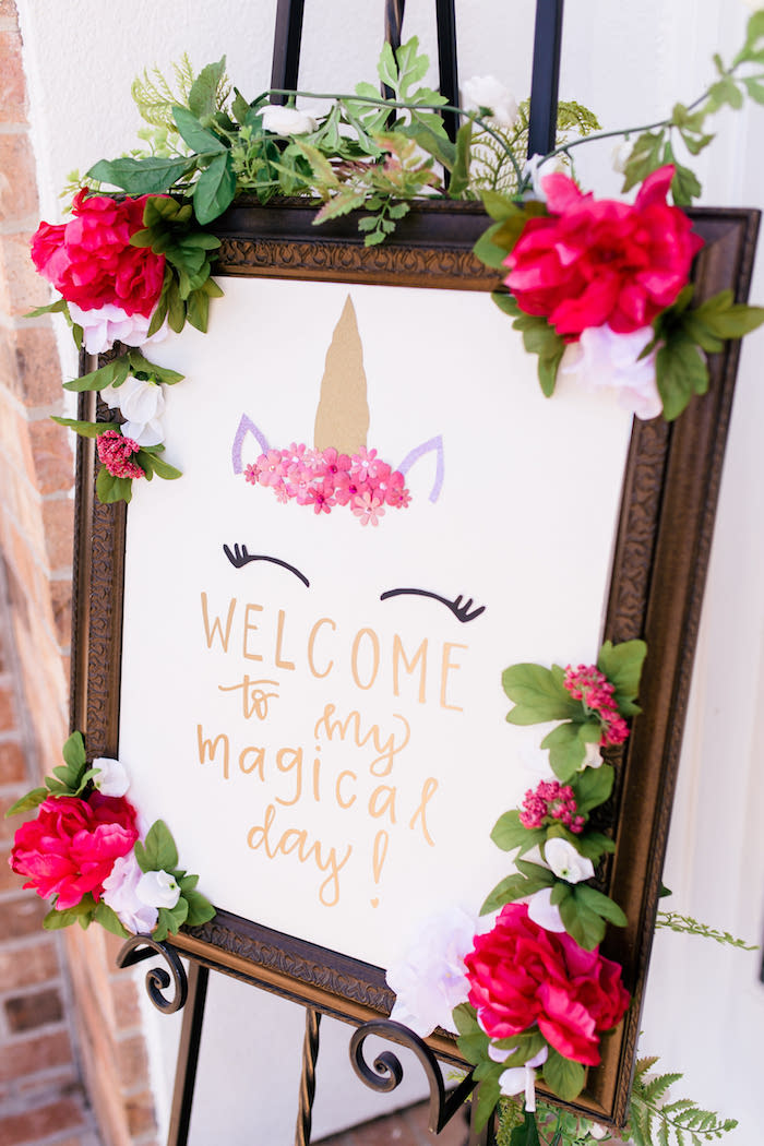 Unicorn Welcome Sign from a Flowers & Unicorns Birthday Party on Kara's Party Ideas | KarasPartyIdeas.com (21)