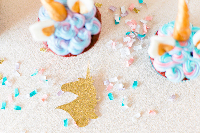 Unicorn Confetti from a Flowers & Unicorns Birthday Party on Kara's Party Ideas | KarasPartyIdeas.com (16)
