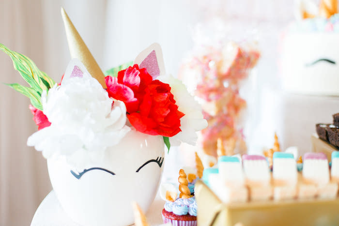 Unicorn Flower Vase from a Flowers & Unicorns Birthday Party on Kara's Party Ideas | KarasPartyIdeas.com (15)