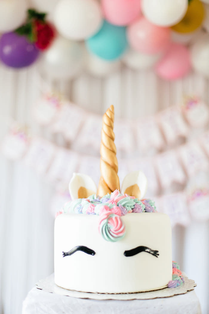 Unicorn Cake from a Flowers & Unicorns Birthday Party on Kara's Party Ideas | KarasPartyIdeas.com (14)