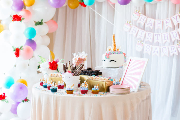 Unicorn Party Table from a Flowers & Unicorns Birthday Party on Kara's Party Ideas | KarasPartyIdeas.com (13)