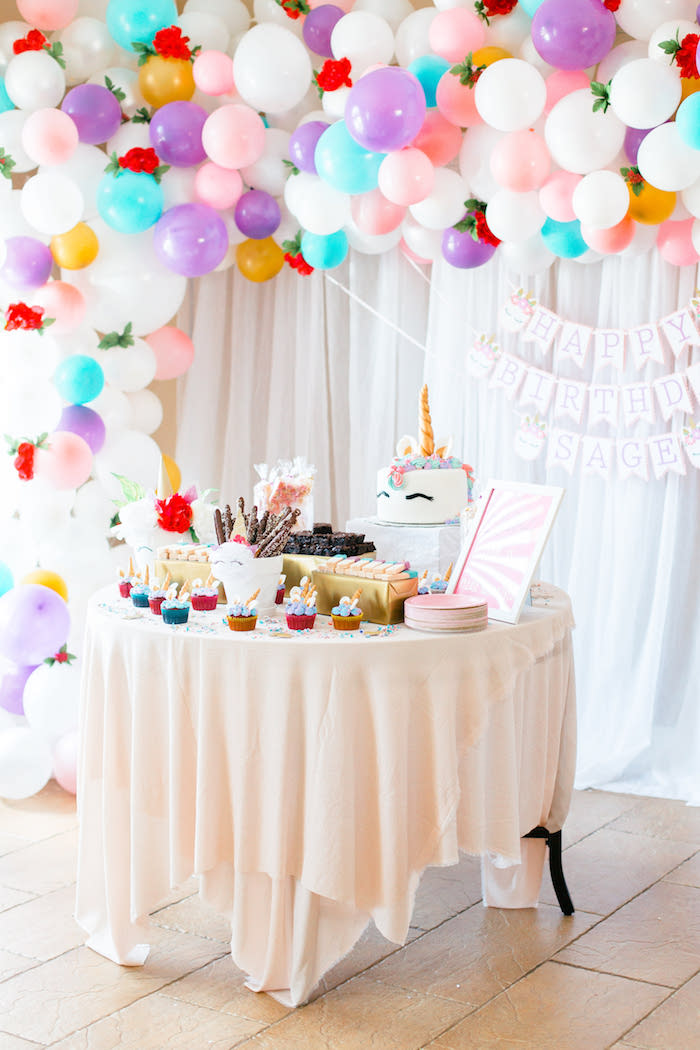Unicorn Party Table from a Flowers & Unicorns Birthday Party on Kara's Party Ideas | KarasPartyIdeas.com (12)